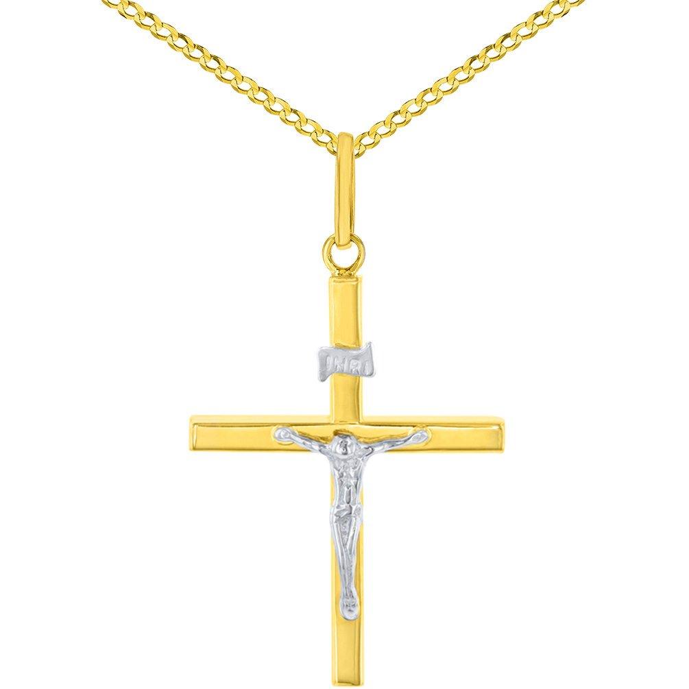 14K Two-Tone Gold Slender Cross INRI Crucifix Pendant Necklace