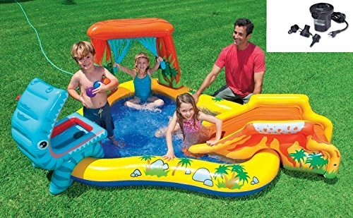Intex 95in x 75in x 43in Dinosaur Play Center Kids Swimming Pool + Air Pump by Intex