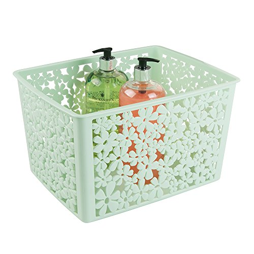 mDesign Floral Bathroom Vanity Organizer Bin for Health and Beauty Products/Supplies, Towels - 10