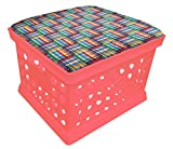 Pink Utility Crate Storage Container Ottoman Bench Stool for Office/Home/School/Preschools with Your Choice of Seat Cushion Theme and a Free Flashlight! (Crayons)