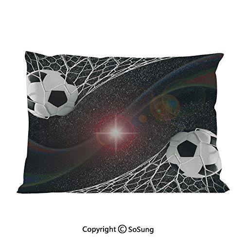 Teen Room Decor Bed Pillow Case/Shams Set of 2,Soccer Balls Goal Match Success Concept in Outer Space Winner Glory Theme Queen Size Without Insert (2 Pack Pillowcase 30