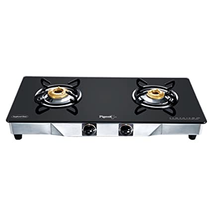 ad2e7671bae Buy Pigeon Black Line Square 2 Burner SS Gas Stove Online at Low Prices in  India - Amazon.in