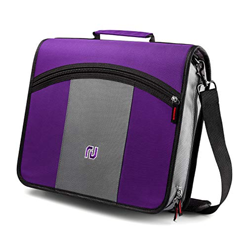 Kinbashi 3-Inch Zipper Binder, Round Ring Binder with Expanding Files, Handle and Shoulder Strap, Purple