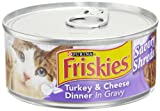 Friskies Cat Food Savory Shreds Turkey and Cheese Dinner in Gravy, 5.5-Ounce Cans (Pack of 24), My Pet Supplies