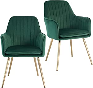 Five Stars Furniture Velvet Dining Chair,Accent Chair, Modern Leisure Armchair Living Room Chair,Home Desk Chair,Golden Metal Legs (Green) Set of 2