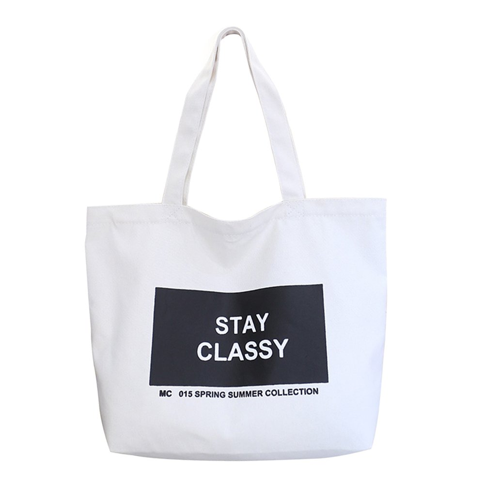 Eunomia肩バッグ、ファッションレディースキャンバスEcoハンドバッグ学校旅行ショッピングトートバッグ  ホワイト B0789PRDXH