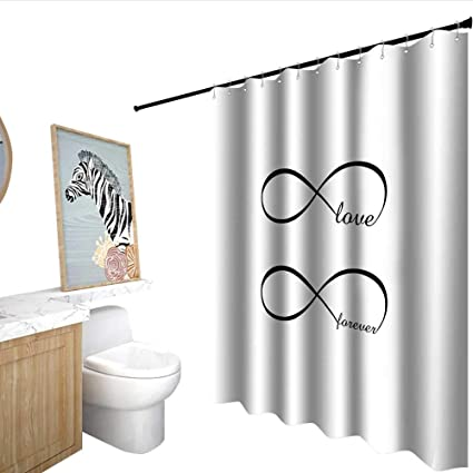 Homecoco Love Shower Stall Curtains Infinity Symbol With Monochrome Design Forever Theme Abstract Vintage Valentine