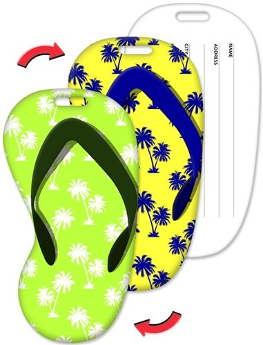Luggage Tag, 2.3 x 4.35 inches Flip-Flop Shape, Palm Trees Lenticular Flip Effect, Item# LTFF-364