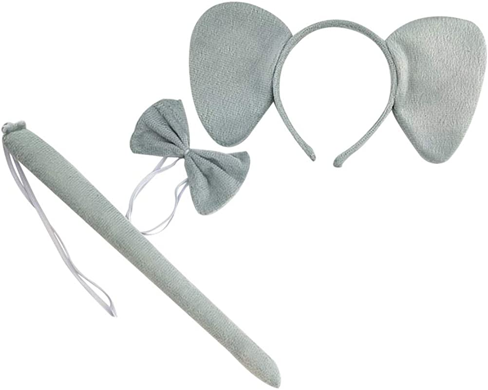 FENICAL 3Pcs Kids Elephant Ears Headband Tie Tail Animal Cosplay Party Favors Grey