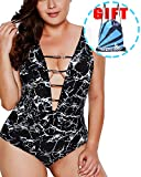 Garlagy Women's One Piece Swimsuits Plus Size Monokinis Swimwear Athletic Tankini ((US 12-14) XL, F-Black White V Neck)