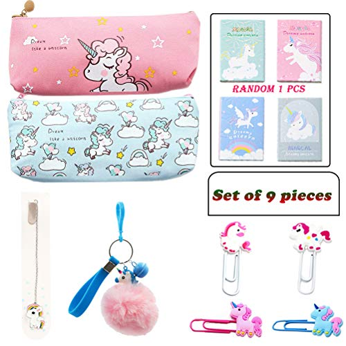 Unicorn Pencil Bag, Cute Unicorn Pencil Case, Pencil Bag Set for Students or Office Workers, Travel or Stationary Case Makeup Cosmetic Bag, School Supplies - Best Gift Set, Christmas Unicorn Gifts