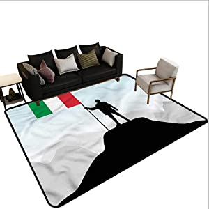 "Italian Flag,Multi-USE Floor MAT 64""x 96"" Silhouette of A Man All Weather Floor mats"