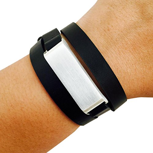 Fitbit Bracelet for FitBit Flex Fitness Activity Trackers - The KATE Brushed Metal and Premium Vegan Leather Buckle Fitbit Bracelet - Alternative to Tory Burch Fitbit (Black and Silver, - Burch To Tory Similar