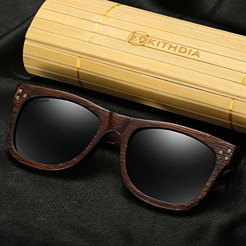 Madera sol de Gafas Negro madera espejos Bambú modelo de de y de Gafas anteojos sol moda hombres KITHDIA vintage de Lentes Sol Polarizadas los de de de de Gafas Gafas wxtRqH