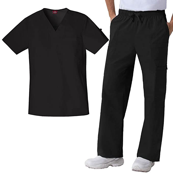 0401811a8cc Image Unavailable. Image not available for. Color: Gen Flex By Dickies  Men's V-Neck Scrub Top & Cargo ...