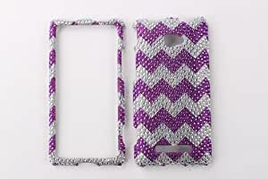 Bling Crystal Diamond Rhinestone Hard Cover Case For HTC Windows Phone 8X Zenith 6990 - Purple Zig Zag
