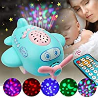 Rvold Infant Baby Sleep Star Projector Lamp Cartoon Airplane Toy with Remote Control Light Show and Musical Songs (Chinese and English)