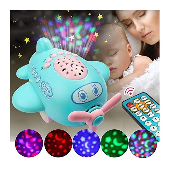 Jiada New Born Remote Controlled Air Craft Baby Sleep Projector Learning Musical Toy