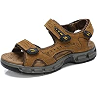 Select Camel Mens Summer Leather Toe Sandals Casual Strap Fisherman Sandals for Outdoor Beach Walking Hiking (Multiple Options)