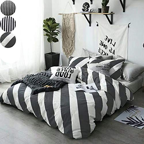 (CLOTHKNOW White and Grey Stripes Full/Queen Duvet Cover Sets for Boys Girls Dark Gray Diagonal Stripe Bedding Sets 100 Cotton 3 Pieces Reversible - 1 Duvet Cover with Zipper Closure 2 Pillow Shams)