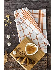 DC HOME 100% Cotton Kitchen Tea Towels Set of 5 (50 x 70 cm), Orange, Blue, Grey, Red and Lilac Tea Towels, Fast Drying & Ultra Absorbent Kitchen Dish Towels, Dishcloths and Bar Towels
