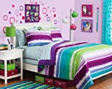 Purple, Blue & Green Tie Dye Teen Girls Full Comforter Set (8 Piece Bed In A Bag)