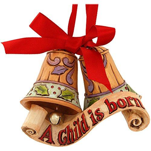 "(Jim Shore Heartwood Creek Legend of Christmas Bells Stone Resin Hanging Ornament, 3"")"