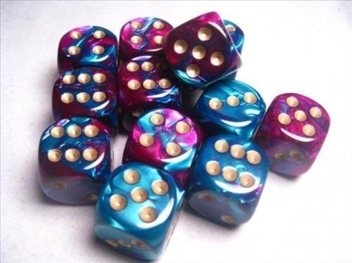 Chessex - Dice d6 Sets Six Sided Die (12) Block of Dice (16 Millimeters) (Gemini Purple & Teal with Gold) (2-Pack)