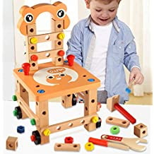 [Sponsored] Wooden Carpenter Workbench with Tools Nuts Kits -YiGooood Genuine Creative Children Disassembly Wooden Work Disassembly Chair Lu Luban Chair Toys。