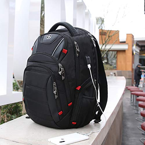 Swissdigital Circuit Laptop Backpack, Business Travel Backpack with USB Charging Port