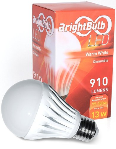LED Light Bulb- 13W BrightBulb LED LightBulbs A19, High Efficiency,, Warm White (13W= 75-100W Traditional, Dimmable)