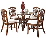 Hospitality Rattan 5 PC SET-401-D-TCA-S Cancun Palm 5 Piece Indoor Rattan & Wicker Dining Set, Sunbrella Canvas Spa