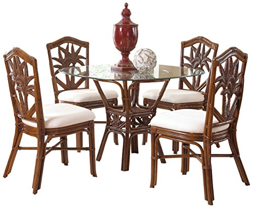 - Hospitality Rattan 5 PC SET-401-D-TCA-S Cancun Palm 5 Piece Indoor Rattan & Wicker Dining Set, Sunbrella Dolce Oasis