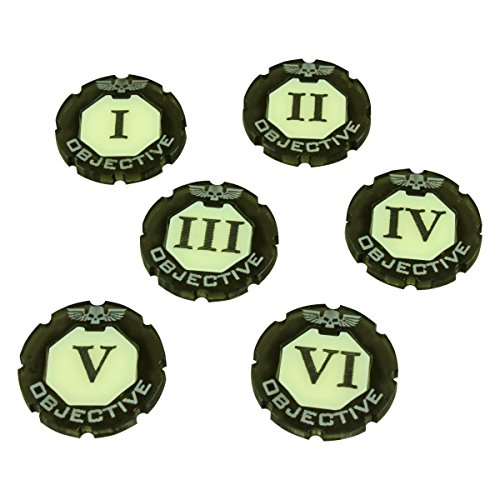 Premium Token - Litko Game Accessories WHv8: Premium 2-Tone, Objective Token Set, Numbered 1-6 (6)
