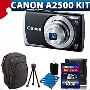 Canon PowerShot A2500 16MP Digital Camera HD video with 5x Optical Image Stabilized Zoom with 2.7-Inch LCD (Black) With Deluxe Soft Case + 16GB Complete Deluxe Bundle