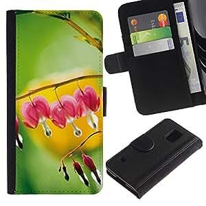 Paccase / Billetera de Cuero Caso del tirón Titular de la tarjeta Carcasa Funda para - Plant Nature Forrest Flower 109 - Samsung Galaxy S5 V SM-G900