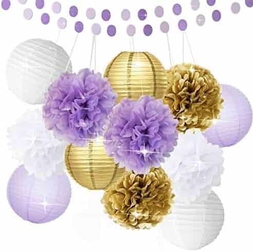 2b7a4e4fe757 Bridal Shower Decorations 14pcs White Purple Gold Tissue Paper Pom Pom  Paper Lanterns Circle Paper Garland