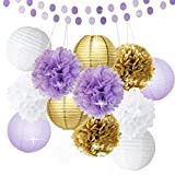 Bridal Shower Decorations 14pcs White Purple Gold Tissue Paper Pom Pom Paper Lanterns Circle Paper Garland Mixed Package for Purple Themed Party Wedding Party Decorations Baby Shower Decoration
