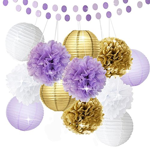 Bridal Shower Decorations 14pcs White Purple Gold Tissue Paper Pom Pom Paper Lanterns Circle Paper Garland Mixed Package for Purple Themed Party Wedding Party Decorations Baby Shower (Gold And Purple Decorations)