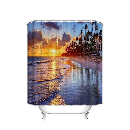 FANNEE Hawaiian Decorative Shower Curtains, Warm Tropical Sunset Destination On Maui Beach, Hawaii, Bathroom Accessories, 72W X 80L Inches, Yellow Brown Blue by FANNEE