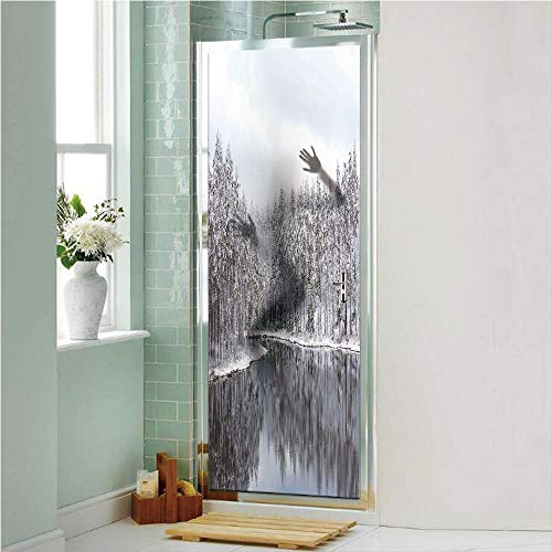 - Woodland Decor 3D No Glue Static Decorative Privacy Window Films, Lake Surrounded by Snow Covered Trees on a Cold Winter Day in Finland Reflections,17.7