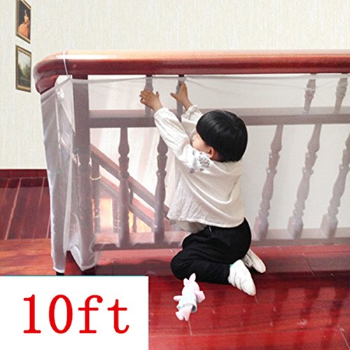 Guard Rail Lock (Kalolary Child Safety Rail Net-10ft L x 2.5ft H Indoor Balcony and Stairway Safety Net,Baby Toddlers Kids Pet Banister Stair Net Protector,for Kids/ Pet/ Toy Safety)
