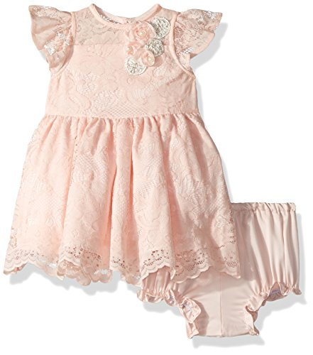 Laura Ashley London Baby Girls Sweet Lace Dress, Peach, 24M
