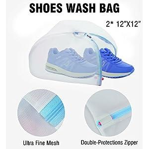PlusMart Shoe Bag 2 Pack Shoe Washing Bag 4 Pack Shoe Storage Bag Shoe Organizer Bag Zipper Travel Bag for Men,Woman with Transparent Window