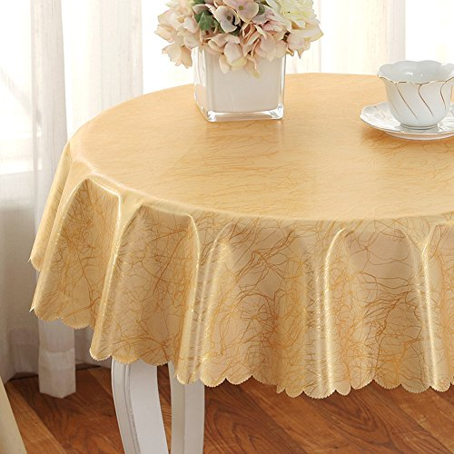 Pvc Tablecloths,Kitchen Home European style Christmas Party Simple Banquet Picnic [round] Washable Anti-wrinkle Oil-proof Disposable Burn-proof-Golden diameter300cm(118inch)