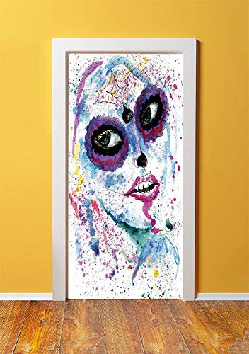 Girls 3D Door Sticker Wall Decals Mural Wallpaper,Grunge Halloween Lady with Sugar Skull Make Up Creepy Dead Face Gothic Woman Artsy,DIY Art Home Decor Poster Decoration 30.3x78.14324,Blue -