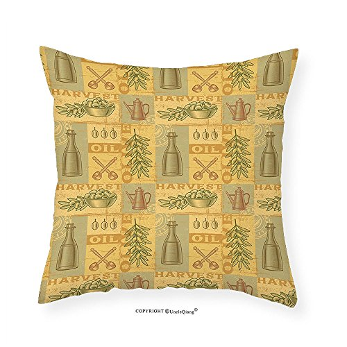 VROSELV Custom Cotton Linen Pillowcase Vintage Olive Harvest Theme Retro Worn Composition of Branch Oil Bottle Spoons Bowl for Bedroom Living Room Dorm Earth Yellow Khaki 16