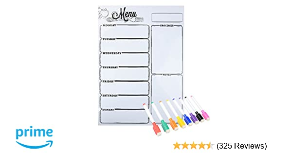 amazon com magnetic refrigerator whiteboard weekly menu meal