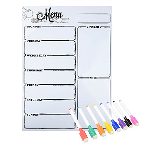 Magnetic Refrigerator Whiteboard,Weekly Menu, Meal Planner, Grocery Shopping List, Dry Erase Board, For Kitchen Fridge with 8 color Magnetic Markers (16inchx12inch, Vertical FLAT PACK)