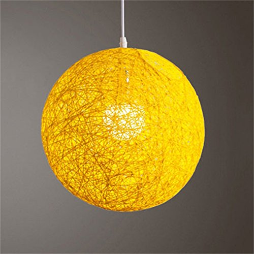 Zehui Light Lamp Shades Light Accessories(15cm Diameter) Round Concise Hand-woven Rattan Vine Ball Pendant Lampshade Yellow - Blue Pleated Floor Lamp